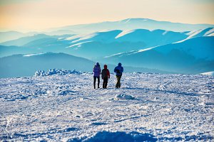 Bright sun in winter mountains