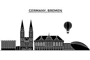Germany, Bremen architecture vector city skyline, travel cityscape with landmarks, buildings, isolated sights on background