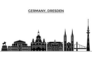 Germany, Dresden architecture vector city skyline, travel cityscape with landmarks, buildings, isolated sights on background