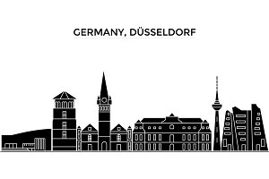 Germany, Dusseldorf architecture vector city skyline, travel cityscape with landmarks, buildings, isolated sights on background