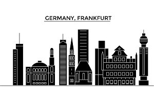 Germany, Frankfurt architecture vector city skyline, travel cityscape with landmarks, buildings, isolated sights on background