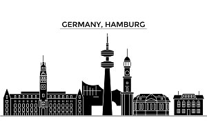 Germany, Hamburg architecture vector city skyline, travel cityscape with landmarks, buildings, isolated sights on background