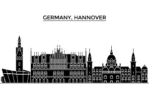 Germany, Hannover architecture vector city skyline, travel cityscape with landmarks, buildings, isolated sights on background