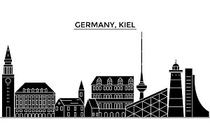 Germany, Kiel architecture vector city skyline, travel cityscape with landmarks, buildings, isolated sights on background