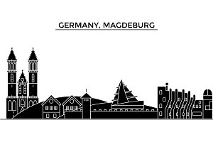 Germany, Magdeburg architecture vector city skyline, travel cityscape with landmarks, buildings, isolated sights on background