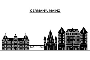 Germany, Mainz architecture vector city skyline, travel cityscape with landmarks, buildings, isolated sights on background