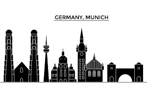 Germany, Munich architecture vector city skyline, travel cityscape with landmarks, buildings, isolated sights on background