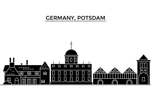 Germany, Potsdam architecture vector city skyline, travel cityscape with landmarks, buildings, isolated sights on background