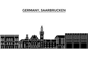 Germany, Saarbrucken architecture vector city skyline, travel cityscape with landmarks, buildings, isolated sights on background