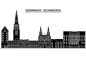 Germany, Schwerin architecture vector city skyline, travel cityscape with landmarks, buildings, isolated sights on background