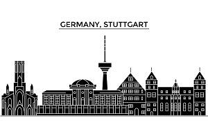 Germany, Stuttgart architecture vector city skyline, travel cityscape with landmarks, buildings, isolated sights on background