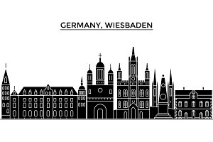 Germany, Wiesbaden architecture vector city skyline, travel cityscape with landmarks, buildings, isolated sights on background