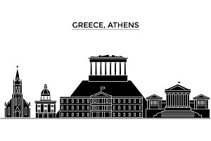 Greece, Athens architecture vector city skyline, travel cityscape with landmarks, buildings, isolated sights on background