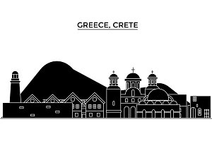 Greece, Crete architecture vector city skyline, travel cityscape with landmarks, buildings, isolated sights on background