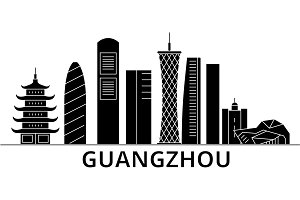 Guangzhou architecture vector city skyline, travel cityscape with landmarks, buildings, isolated sights on background