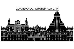 Guatemala , Guatemala City architecture vector city skyline, travel cityscape with landmarks, buildings, isolated sights on background