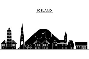 Ice Land architecture vector city skyline, travel cityscape with landmarks, buildings, isolated sights on background