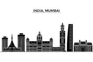 India, Mumbai architecture vector city skyline, travel cityscape with landmarks, buildings, isolated sights on background