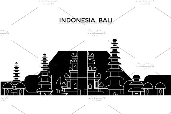 Indonesia, Bali architecture vector city skyline, travel cityscape with landmarks, buildings, isolated sights on background