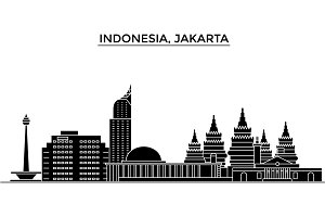 Indonesia, Jakarta architecture vector city skyline, travel cityscape with landmarks, buildings, isolated sights on background