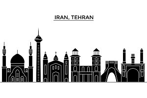 Iran, Tehran architecture vector city skyline, travel cityscape with landmarks, buildings, isolated sights on background