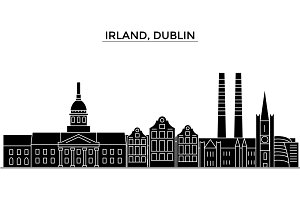 Irland, Dublin architecture vector city skyline, travel cityscape with landmarks, buildings, isolated sights on background