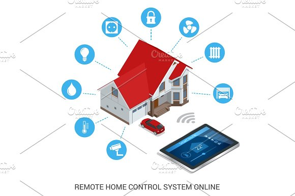 Flat design style modern vector illustration concept of smart home control technology system with centralized control of lighting, heating, ventilation and air conditioning, security and video