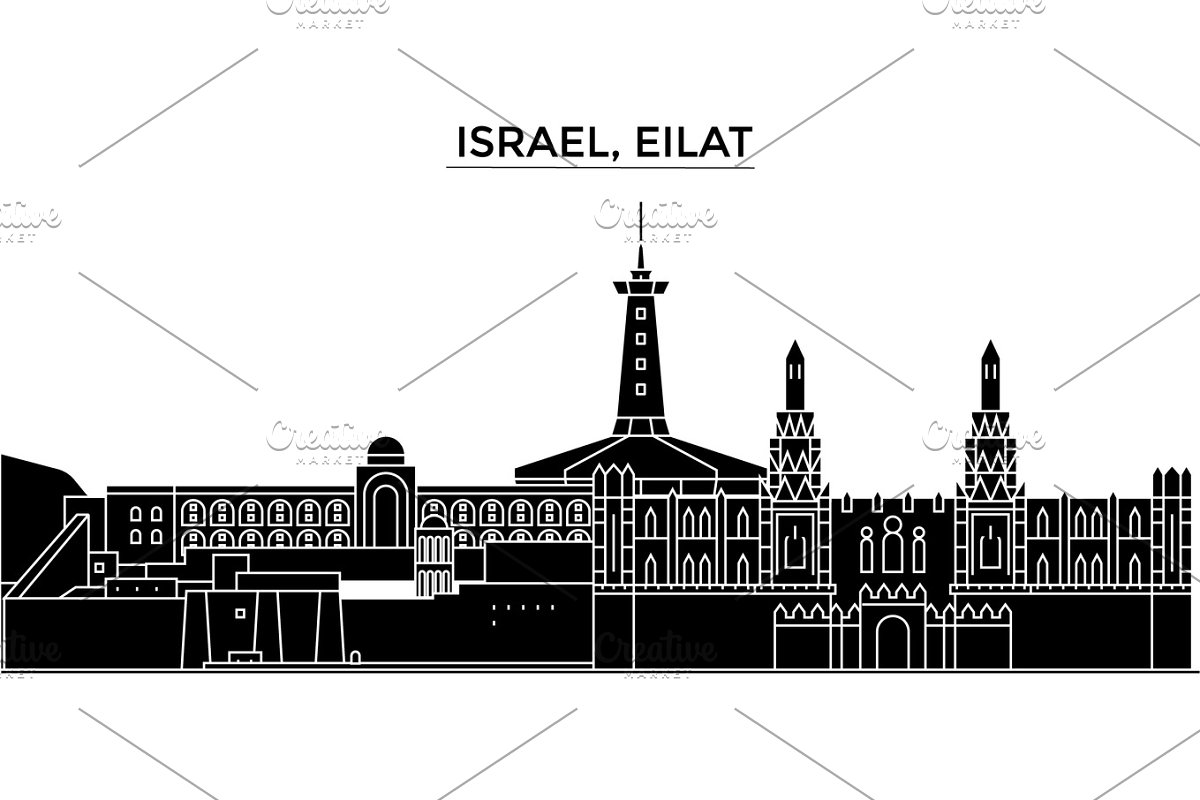 Israel, Eilat architecture vector city skyline, travel cityscape with landmarks, buildings, isolated sights on background in Illustrations