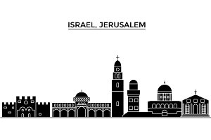 Israel, Jerusalem architecture vector city skyline, travel cityscape with landmarks, buildings, isolated sights on background