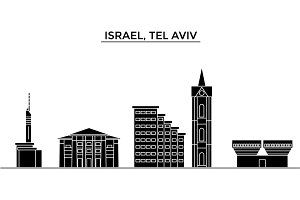 Istael, Tel Aviv architecture vector city skyline, travel cityscape with landmarks, buildings, isolated sights on background