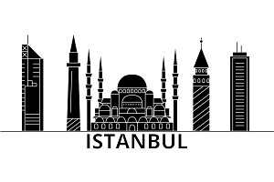 Istanbul architecture vector city skyline, travel cityscape with landmarks, buildings, isolated sights on background