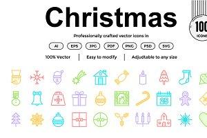 Christmas Colour Line Icons