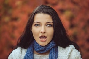 Surprised Autumn Woman Fashion Model Portrait