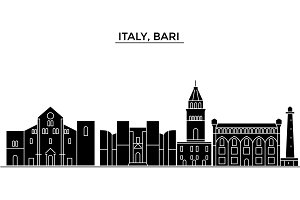 Italy, Bari architecture vector city skyline, travel cityscape with landmarks, buildings, isolated sights on background
