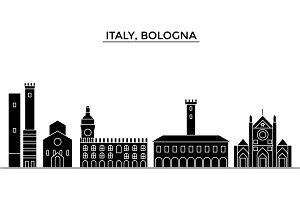 Italy, Bologna architecture vector city skyline, travel cityscape with landmarks, buildings, isolated sights on background