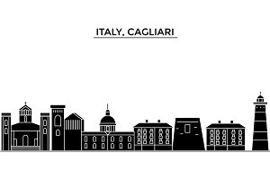 Italy, Cagliari architecture vector city skyline, travel cityscape with landmarks, buildings, isolated sights on background