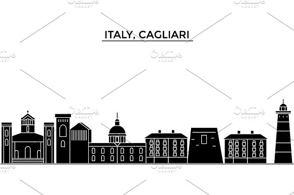Italy Cagliari Architecture Vector City Skyline Travel Cityscape With Landmarks Buildings Isolated Sights On Background
