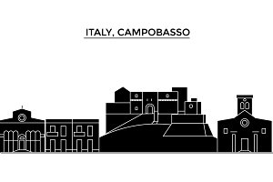 Italy, Campobasso architecture vector city skyline, travel cityscape with landmarks, buildings, isolated sights on background