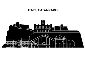 Italy, Catanzaro architecture vector city skyline, travel cityscape with landmarks, buildings, isolated sights on background