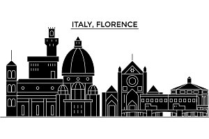 Italy, Florence architecture vector city skyline, travel cityscape with landmarks, buildings, isolated sights on background
