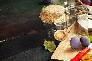 Making plum jam