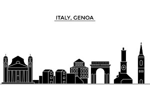 Italy, Genoa architecture vector city skyline, travel cityscape with landmarks, buildings, isolated sights on background