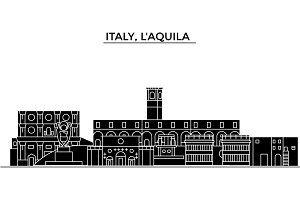 Italy, Laquila architecture vector city skyline, travel cityscape with landmarks, buildings, isolated sights on background