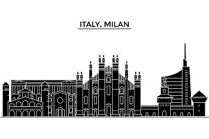 Italy, Milan architecture vector city skyline, travel cityscape with landmarks, buildings, isolated sights on background