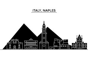 Italy, Naples architecture vector city skyline, travel cityscape with landmarks, buildings, isolated sights on background