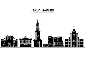 Italy, Naples City architecture vector city skyline, travel cityscape with landmarks, buildings, isolated sights on background