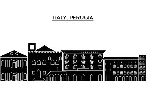 Italy, Perugia architecture vector city skyline, travel cityscape with landmarks, buildings, isolated sights on background