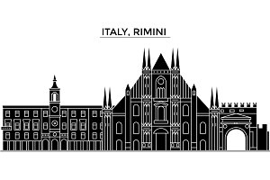 Italy, Rimini architecture vector city skyline, travel cityscape with landmarks, buildings, isolated sights on background
