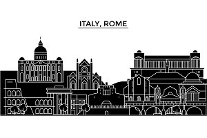 Italy, Rome architecture vector city skyline, travel cityscape with landmarks, buildings, isolated sights on background