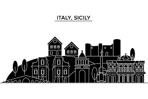 Italy, Sicily architecture vector city skyline, travel cityscape with landmarks, buildings, isolated sights on background